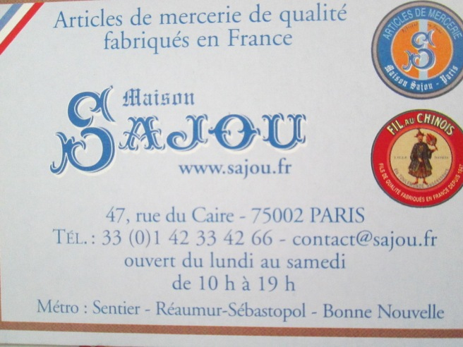 Carnet d'adresse mercerie Sajou 27